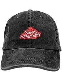 Drink Wisconsinbly Adjustable Vintage Washed Denim Baseball Cap Dad Hat