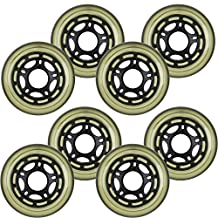 8-Pack of 78a Indoor Inline Hockey Skate Wheels Multi Use 76mm Black/Clear