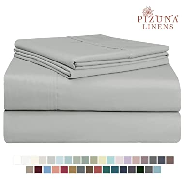 Pizuna 400 Thread Count Cotton King Cotton Sheets Set, 100% Long Staple Cotton Satin 4pc Bed Sheets Light Grey Soft Cotton Sheets Set Deep Pocket fit Upto 15 inch (Silver Gray King 100% Cotton Sheets)
