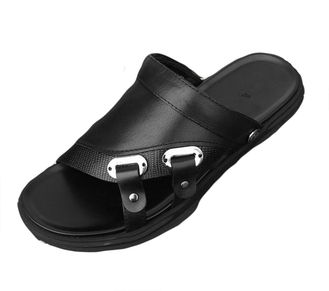 Insun Hombres Sandalias Cuero Casuales Chanclas Playa Zapatos 40 EU|Negro