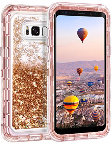 Coolden Samsung Galaxy S8 Plus Case, Luxury Floating Glitter Case Sparkle Bling Quicksand Liquid Cover Shockproof Bumper Dual Layer Anti-Drop PC Frame + TPU Back for Galaxy S8 Plus (Light Coffee)