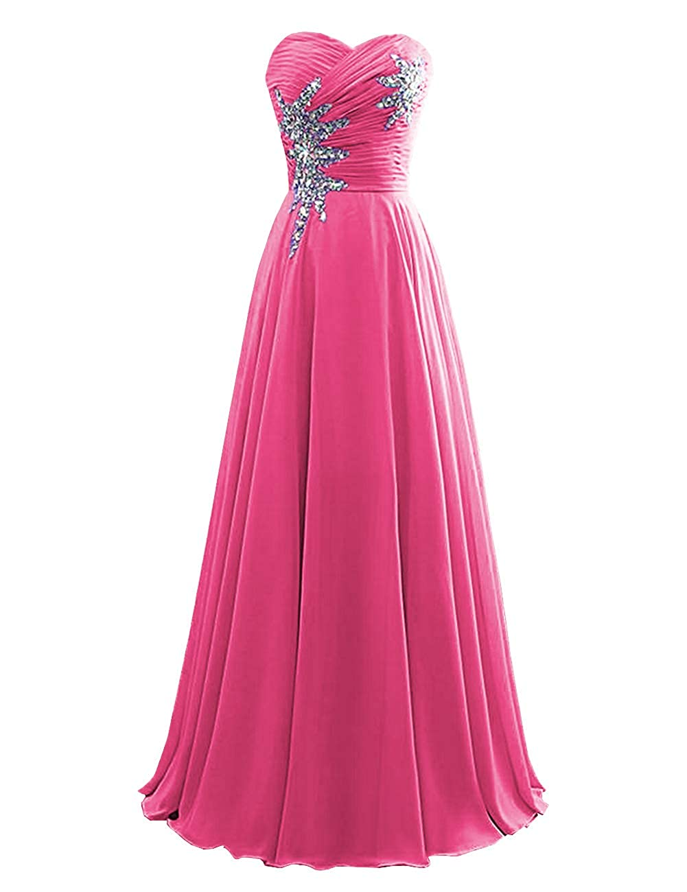 Hot Pink Women's Strapless Bridesmaid Dresses Beaded Prom Wedding Party Gowns