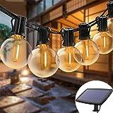 Guirnalda de luces solares para exteriores, impermeables, luces LED para colgar en interiores, con 25 bombillas, 27 pies, luc