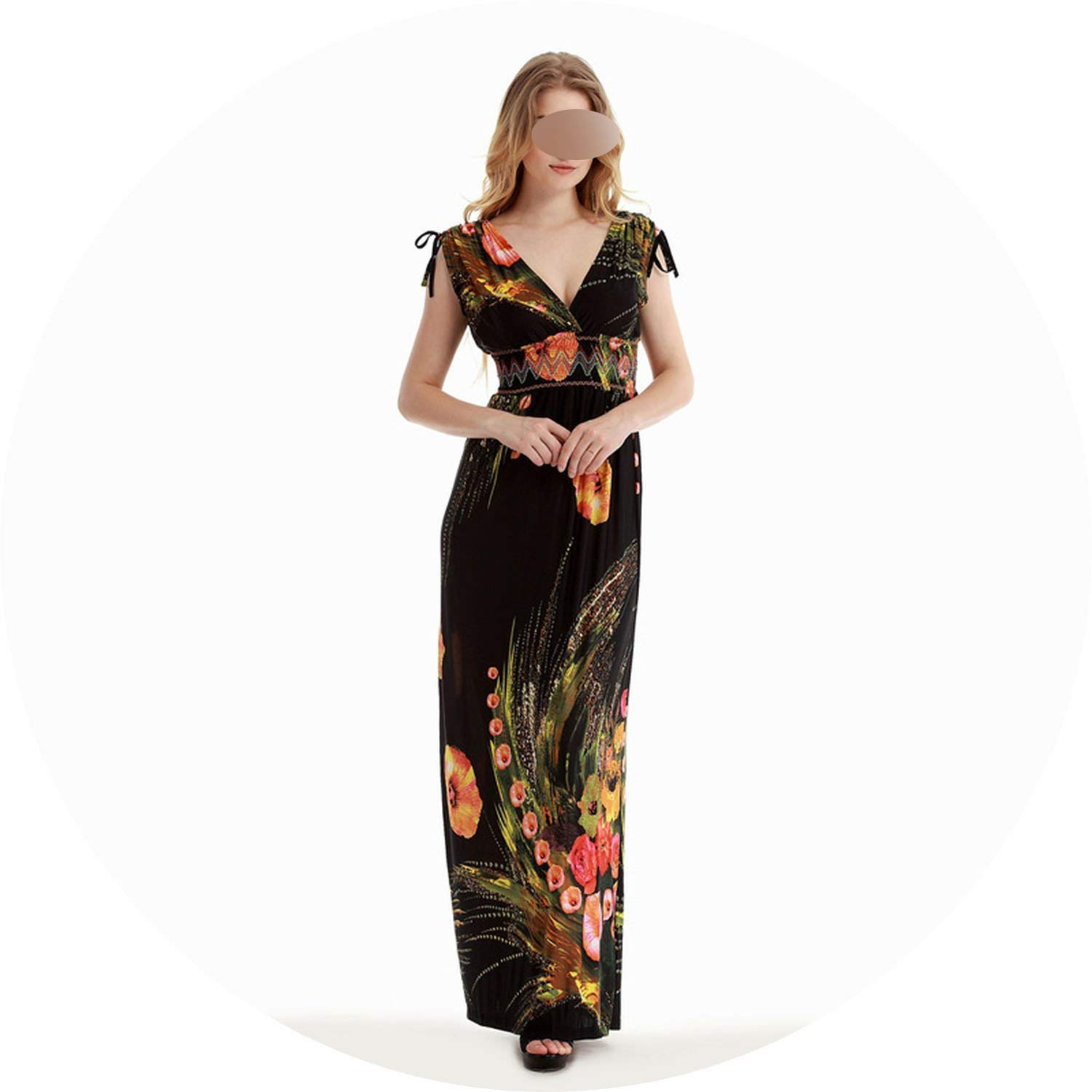 Black Women's Maxi Dresses Summer Elegant Robe Top Selling Long Dress Plus Size Boho Vestido