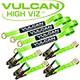 VULCAN Lasso Auto Tie Down with Flat Hooks - 2 Inch x 96 Inch, 4 Pack - High-Viz - 3,300 Pound Safe Working Load