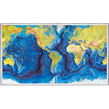 """The World Ocean Floor - MAP measures 24"""" high x 42"""" wide (610mm high x 1067mm wide) Made in USA"""