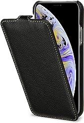 StilGut UltraSlim Case, Custodia Flip Case Custodia Verticale in Vera Pelle Pregiata per iPhone XS