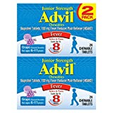 Advil Junior Strength Fever Reducer/Pain Reliever, 100mg Ibuprofen (Grape Flavor, 24-Count Chewable Tablets, Pack of 2)