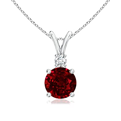 Angara Ruby Diamond Pendant in Platinum - July Birthstone Pendant s8xIVCX