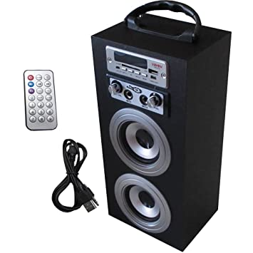 ALTAVOZ PORTATIL KARAOKE NEGRO TORRE CAJA SD USB AUX RADIO ENTRADA MICROFONO PARA MP3, MP4, SMARTPHONE, ...