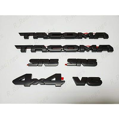 OLPAYE Fit For compatible Ta Matte Black Tag Door Fender Emblem Decal Badge Nameplate PT948-35180-02 (MATTE BLACK 6PCS Overlays): Automotive