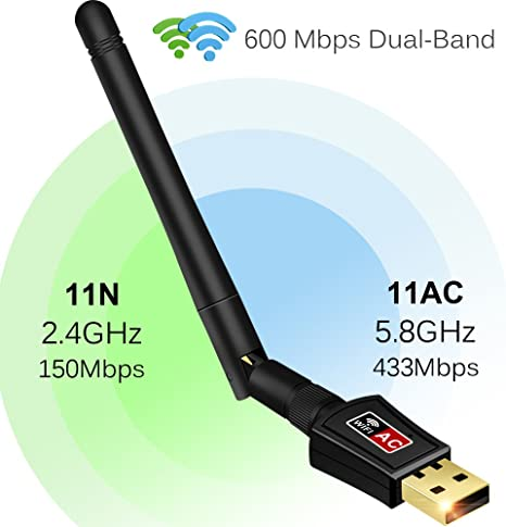 600 Mbps AC Dual Band 2.4G//5G Wireless Network LAN Adapter USB WiFi Receiver US