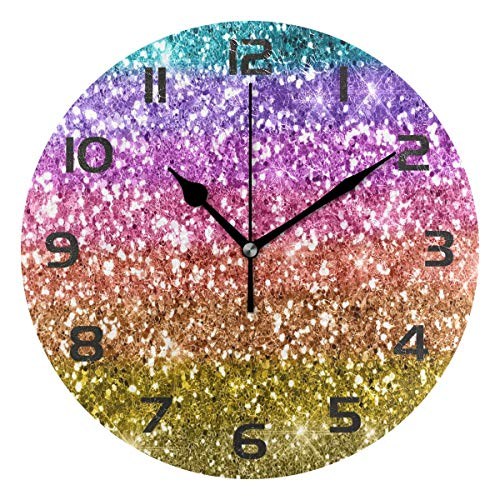 Dozili Glitter Abstract Rainbow Decorative Wooden Round Wall Clock Arabic Numerals Design Non Ticking Wall Clock Large for Bedrooms, Living Room, Bathroom