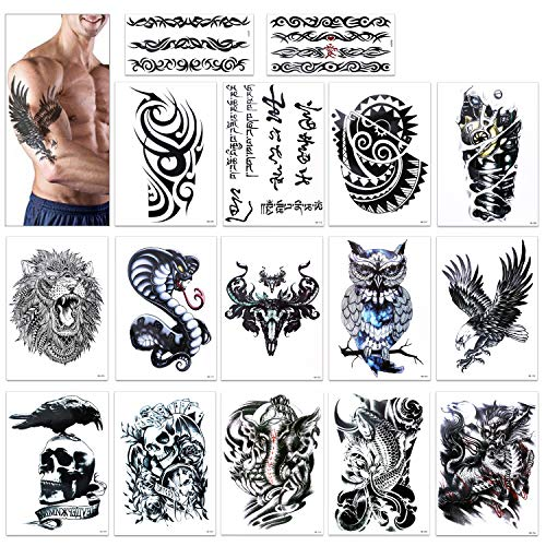 Temporary Tattoo for Guys for Man - Konsait Extra Fake Temporary Tattoo Black tattoo Body Stickers Arm Shoulder Chest & Back Make Up - Lion, Dead Skull,Koi Fish, Eagle Hawks -