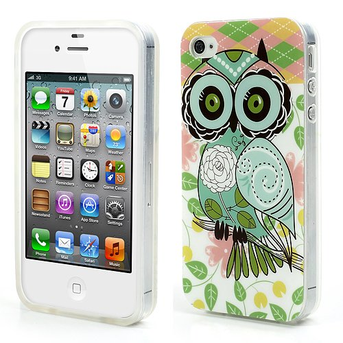 Apple iPhone 4 4S IMD TPU Case Schutz Hülle Glossy Eule Muster Cute Flower Cover
