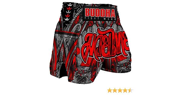 Buddha Fight Wear Pantal/ón Muay Thai Kick Boxing Buddha Retro Zippy