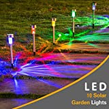 Supermaker Solar Garden Light, Outdoor Waterproof Solar Powered Pathway Light for Lawn/Patio/Yard/Walkway/Driveway, Colorful, Pack of 10