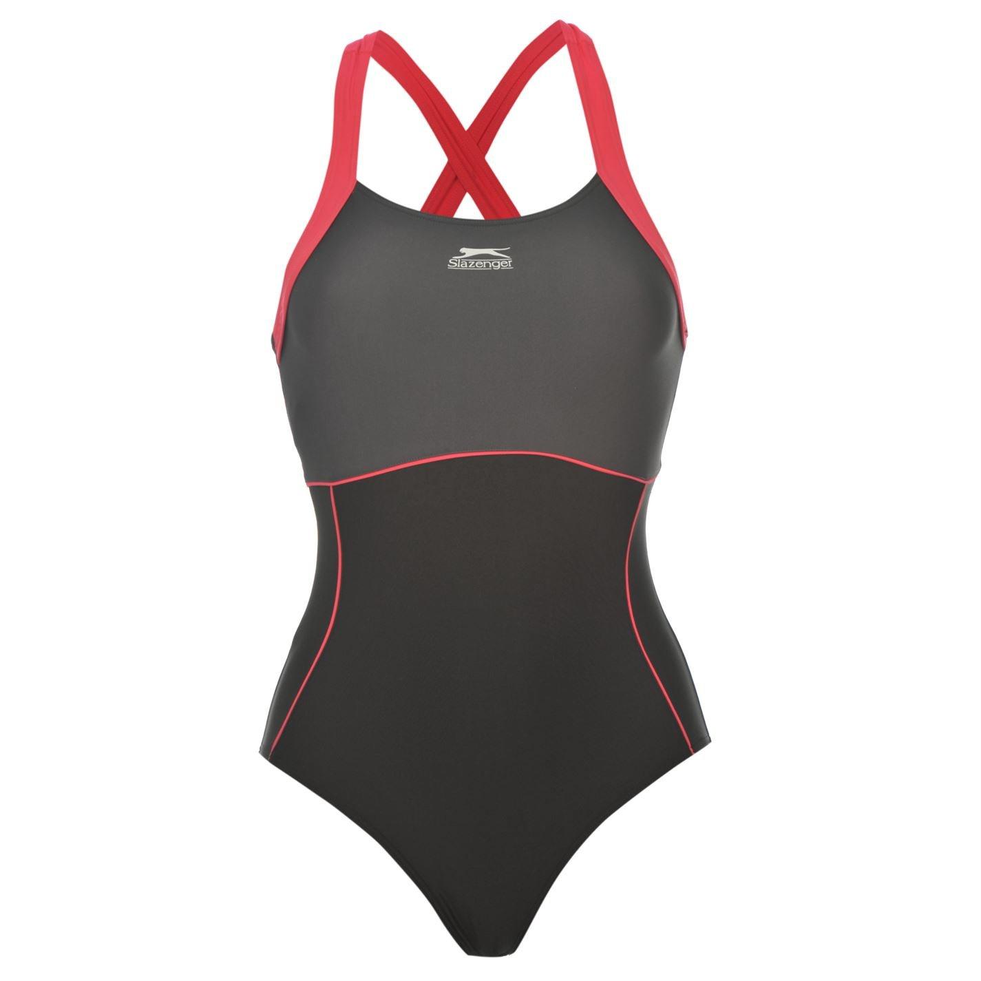 922409e481 Slazenger Womens X Back Swim Suit Ladies One Piece Swimsuit Beachwear  Swimwear: Amazon.co.uk: Clothing