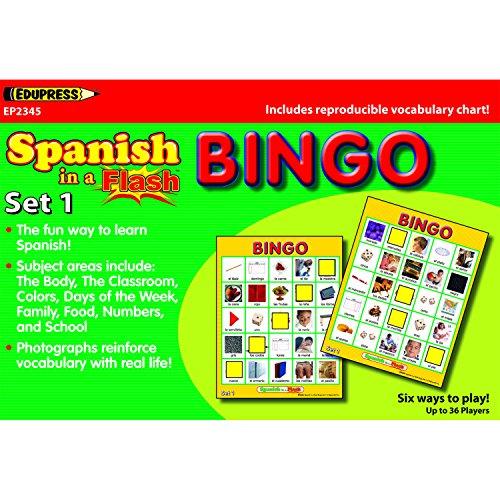 Bingo Set Flash - Edupress EP-2345 Spanish in a Flash Bingo, Set 1, 1.38