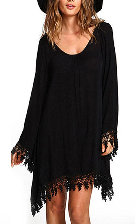 BienBien Chiffon Lace Tops Women Long Sleeve T Shirt Fringe Tassels Blouse Loose Mini Dress