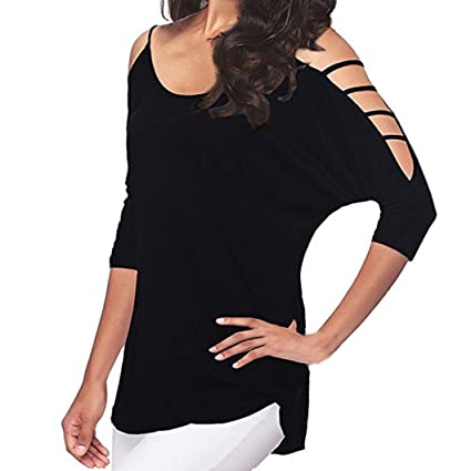 245ed044ed8f74 Amazon.com: Casual Blouse for Women, Three Quarter Sleeve Shirts Loose  Striped Patchwork Lace O Neck Tops (Black#3, M): Arts, Crafts & Sewing