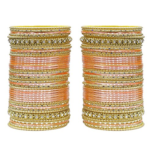 MUCH-MORE 86 Bangles Set of Multi Colour Amazing Collection of Bangles Set for Womens (Peach, 2.6) ()