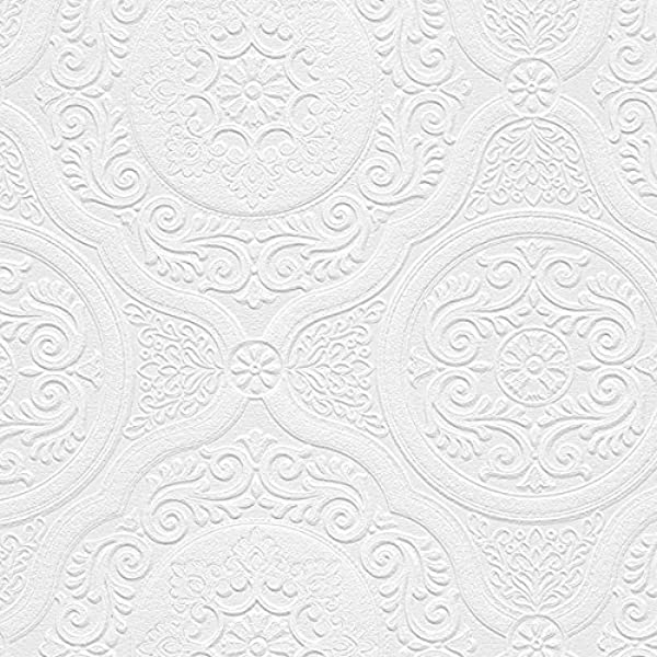 Norwall Nw48932 Carter Series Vinyl Textured Paintable Floral Scroll Boarded Square Design Large Wallpaper Roll 21 W X 33 L White Amazon Com