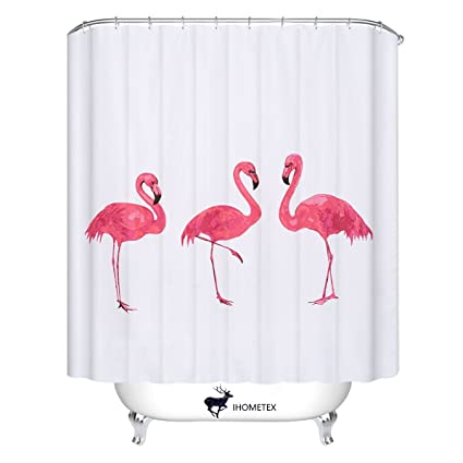 Flamingo Shower Curtains European Style Waterproof Bath Curtain Polyester Fabric Bathroom 72X78inch