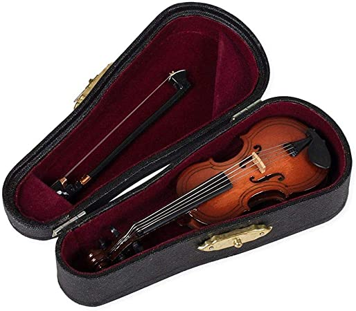 RETYLY Regalos Violín Instrumento Musical Réplica En Miniatura con Estuche, 10x3.5Cm: Amazon.es: Hogar