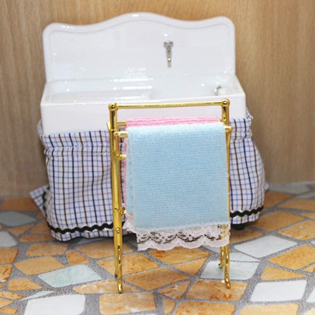baño miniatura toallero metal con toallas de dos 02 1:12
