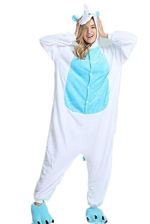 7fe37dff71409 Kenmont Déguisement Combinaison Licorne Pyjama Grenouillère Adulte Animal  Pyjamas Costume à Capuche Halloween Carnaval Noël Fête