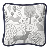 Carousel Designs Navy and Gray Woodland Decorative Pillow Square