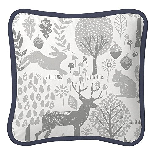 Carousel Designs Navy and Gray Woodland Decorative Pillow Square by Carousel Designs