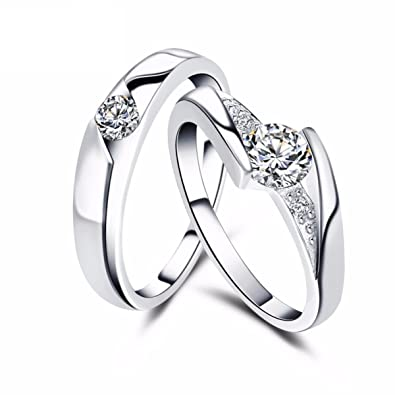 1058f5125 Buy King & Queen Sterling Silver Swarovski Crystal Adjustable Couple Love  Rings Online at Low Prices in India | Amazon Jewellery Store - Amazon.in