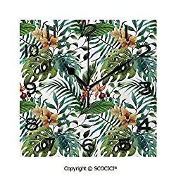 SCOCICI Print Square Wall Clock, 8 Inch Vintage Retro 60S Seem Banana Palm Tree Leaves Flowers Hibiscus Decorative Quiet Desk Clock for Home,Office,School