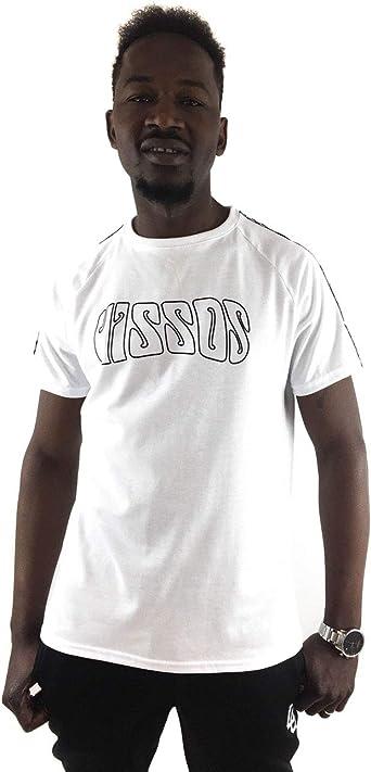 Uissos Camiseta Blanca BÁSICA DE Hombre con Logo Tira Ska EN Las Mangas DE Moda para Chico: Amazon.es: Ropa y accesorios