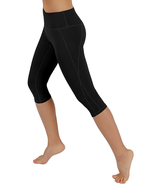 YogaCapris712Black XSmall ODODOS Power Flex Yoga Capris Pants Tummy Control Workout Running 4 Way Stretch Yoga