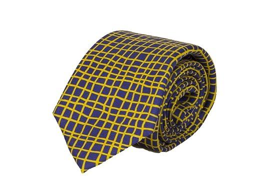 40 colores- Corbata de seda diseño de rejilla irregular azul noche ...
