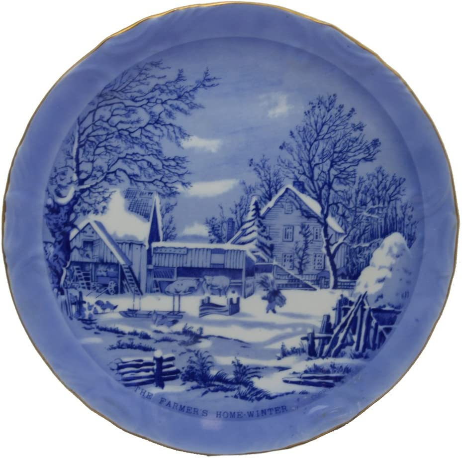 Pair Vintage Currier /& Ives Blue Plate The Farmers Home Winter