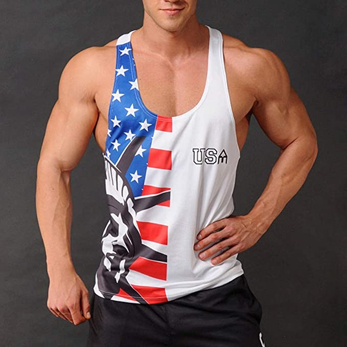 Amazon.com: refulgence Stringers Vintage Distressed USA Flag Mens Tank Top Bodybuilding Sport Fitness Vest: Clothing