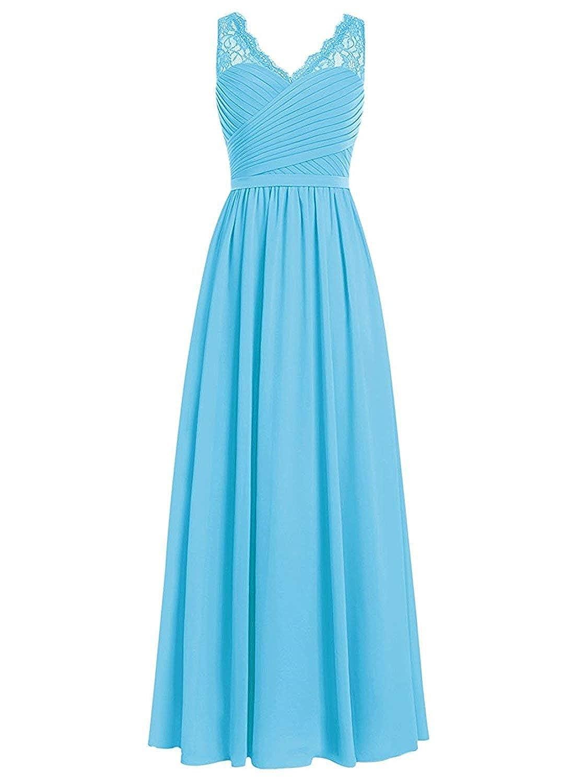 bluee Loffy Women's Elegant VNeck Sleeveless Formal Long Evening Dres