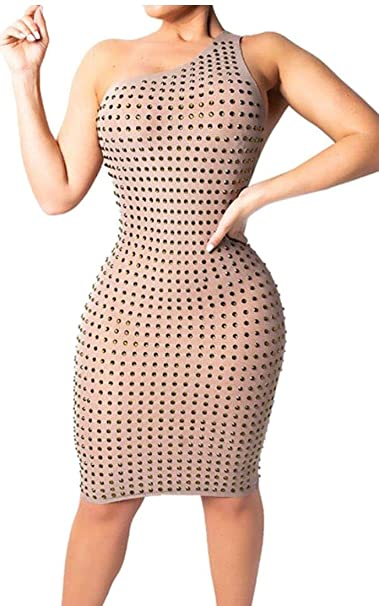 03c86f096c2 Fubotevic Womens Backless Sexy One Shoulder Irregular Bodycon Party Club  Midi Dress at Amazon Women's Clothing store: