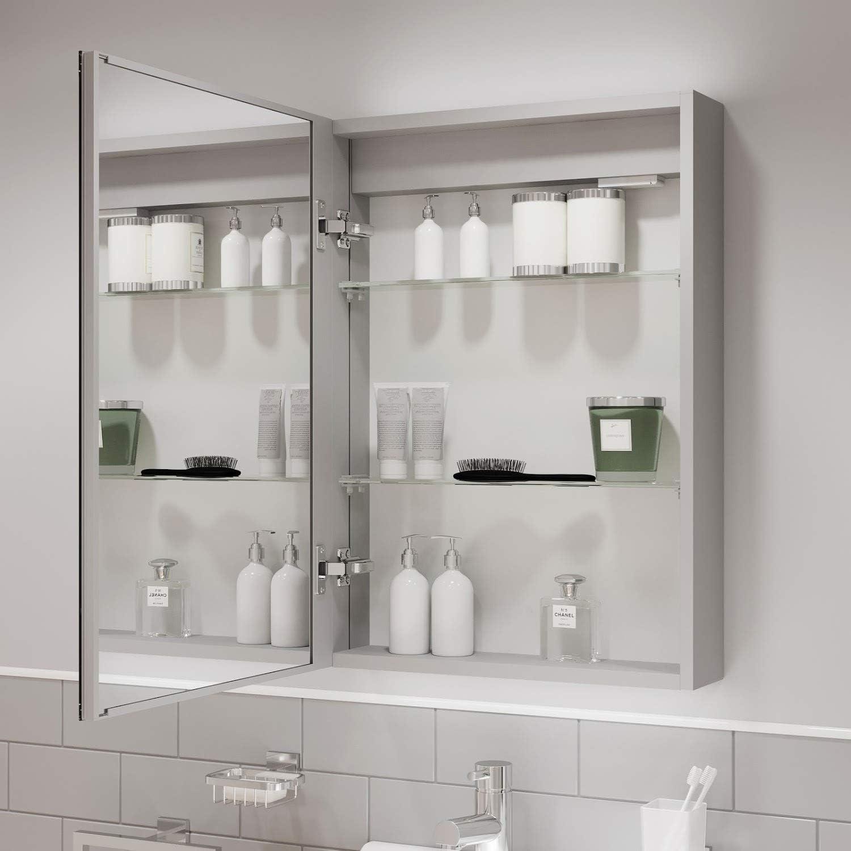 Artis Modern Mirror Cabinet LED Illuminated Wall Mounted Bathroom IP44 500 x 700mm