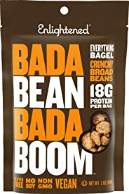 Enlightened Bada Bean Bada Boom Plant Protein Gluten Free Roasted Broad (Fava) Bean Snacks, Everything Bagel, 3 Ounce (6 Coun