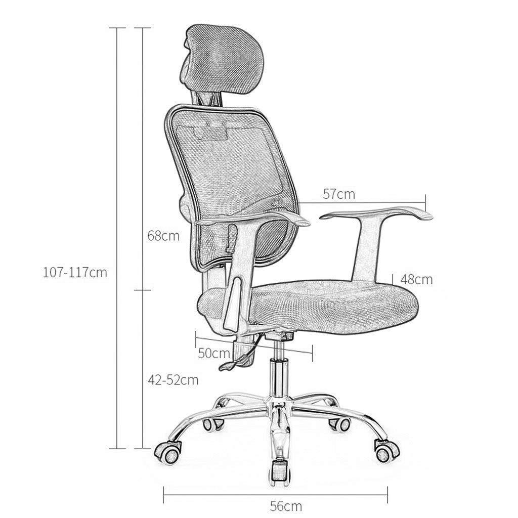 ZXL kontorsskrivbordsstol på hjul, hög ryggstol, justerbara svängbara stolar, hemuppgiftsstol med nättyg vadderat säte och armstöd, nackstöd, ergonomisk (färg: grå) Grått