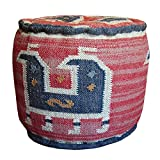 Herat Oriental Handmade Kilim Round Puff Footstool (India)