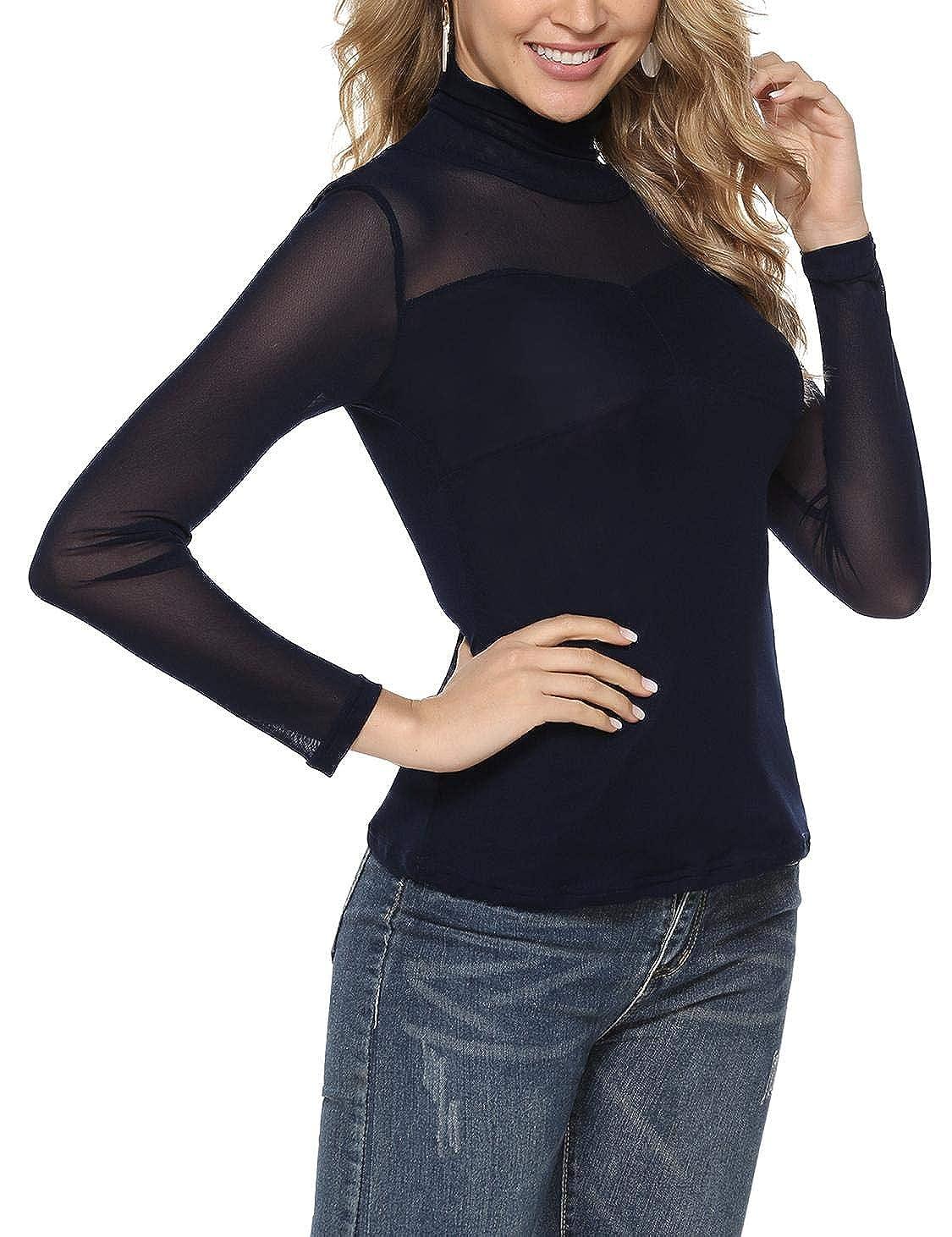 Akalnny Donna T-Shirt Collo Alto Maglia Camicetta Trasparente Ultraleggero Maniche Lunghe Petto Pieghe Camicia