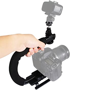 En forma de mano cámara soporte, PULUZ portátil C/U forma mango ...