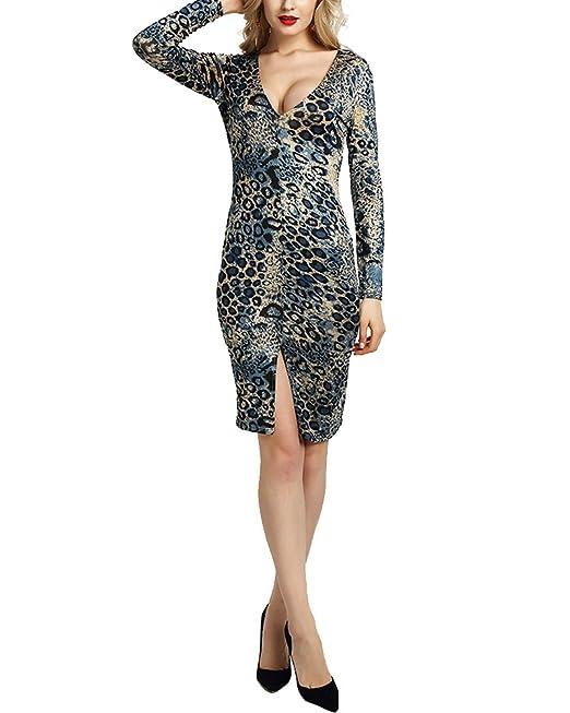 Donna Eleganti V Collo Maniche Lunghe Midi Bodycon Abiti da Cocktail Blu S 202a07548ab