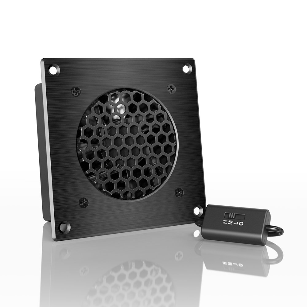 AC Infinity AIRPLATE S1, Quiet Cooling Fan System 4'' with Speed Control, for Home Theater AV Cabinets